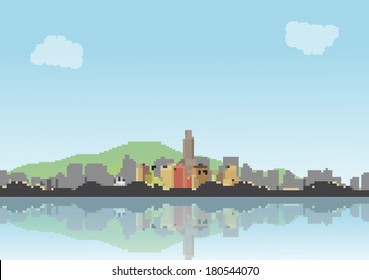 Retro Eight Bit City Skyline with Reflections Background - Vector Illustration