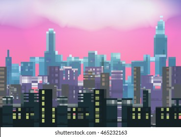 Retro Eight Bit City Skyline at Night Background - Vector Illustration