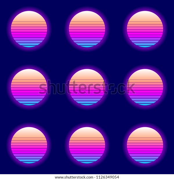 Retro Electric 80s Circle Background. EPS10 Vector With Transparency