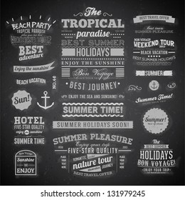 Retro elements for Summer calligraphic designs   Vintage ornaments   All for Summer holidays   tropical paradise, sea, sunshine, weekend tour, beach vacation, bon voyage, adventure labels   vector set