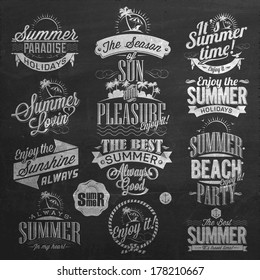 Retro Elements for Summer Calligraphic Designs On Chalkboard | Vintage ornaments, tropical paradise, sunshine, weekend tour, beach vacation, adventure labels | vector Set