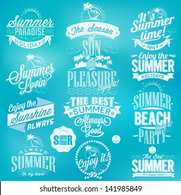 Retro elements for Summer holidays calligraphic designs | Vintage ornaments | tropical paradise, sea, sunshine, weekend tour, beach vacation, adventure labels | vector set