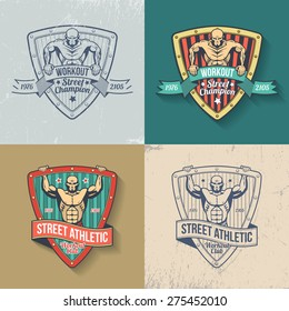 Retro emblem of athletic club, gym, fitness, street workout in color and monochrome versions. Muscular man on logo in old-school style. Scratches on separate layer - easy to remove.