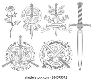 Retro emblem with a dagger and rose. Vintage logo, daggers, roses, heraldic ribbons. Ideal for tattoos and t-shirt print. Text can be easily replaced with your own.