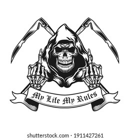 Retro emblem with grim reaper showing middle fingers. Monochrome design element with skeleton, crossed scythe, fuck off gesture and text. Expression concept for tattoo, stamp, print template