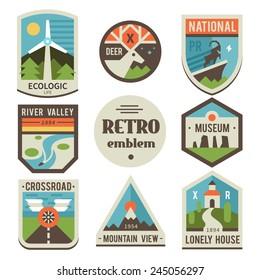 Retro emblems: ecologic, deer, national park, river valley, museum, crossroad, mountains, house. Vector flat logos