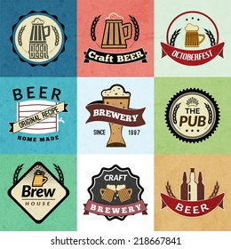 Retro emblems of fresh natural cold premium beer isolated vector illustration