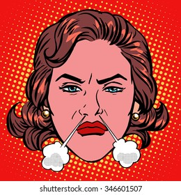 Retro Emoji rage anger boiling woman face pop art retro style
