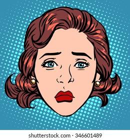 Retro Emoji sadness woman face pop art retro style