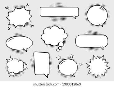 Retro empty comic bubbles and elements set with black halftone shadows. Vector illustration, vintage design, pop art style.