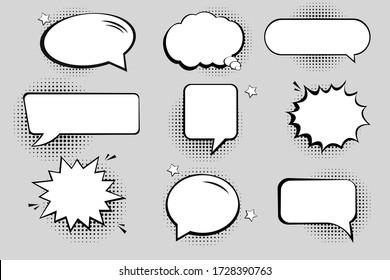Retro empty comic bubbles and elements set with black halftone shadows.
