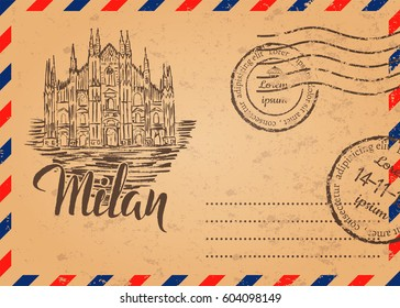 Retro envelope with stamps, Milan label with hand drawn Milan Cathedral, lettering Milan