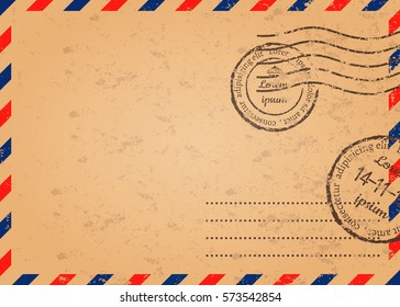 Retro envelope with stamps, template of mail envelope