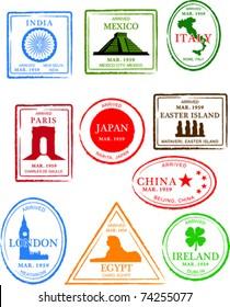 Retro European Set of Fun World Passport Stamps Vector Illustration