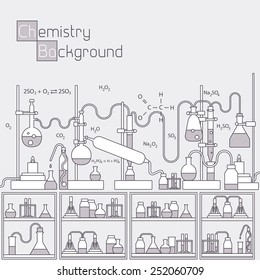 Retro experiments in a chemistry laboratory background concept. Vector illustration design. Thin lines outline design
