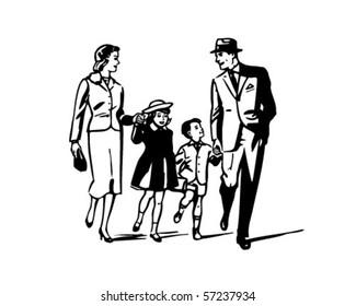 Retro Family - Clip Art