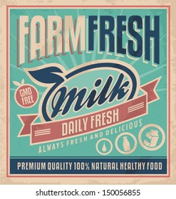 Retro farm fresh milk concept. Vector design for gmo free organic products on old paper texture. Vintage label for premium quality 100 % natural healthy food.