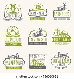 Retro farm market signs. Vintage fresh organic food vector labels with harvest field. Illustration of farm organic label for natural product