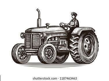 Retro farm tractor, sketch. Vintage vector illustration