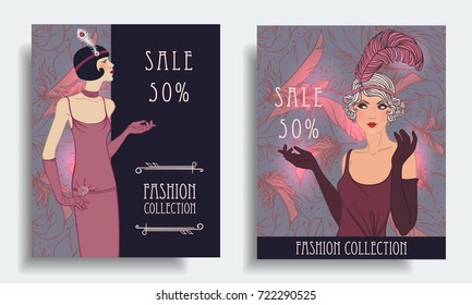 Retro fashion. Costume party or mafia game discount banner template. Flapper girl. Vintage background set (1920's style). Vector illustration for glamour party, thematic wedding.