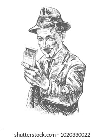Retro fashion fifties smiling man stretches a pack of cigarettes. Hand drawn vector llustration realistic sketch