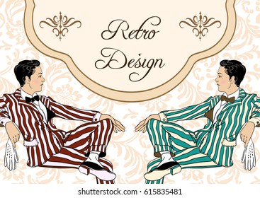 Retro fashion. Two elegant gentlemen of 1920`s. Vintage invitation design for tematic party. Vector illustration.