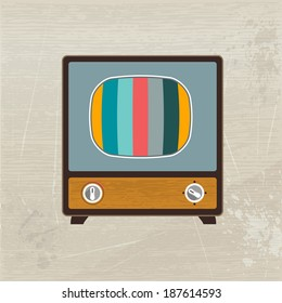 Retro fashion wood television. Vector illustration.