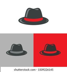 Retro fedora hat logo icon. Hipster cap symbol. Hacker, mafia or gangster concept - Vector