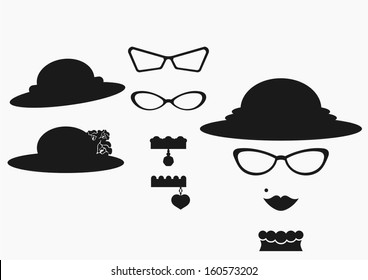 retro female design elements - hats and glasses