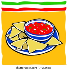 Retro Fiesta Chips and Salsa Vector Illustration