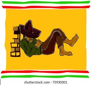 Retro Fiesta Sleeping Sombrero Man Vector Illustration