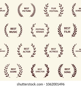 Retro film award wreaths. Seamless pattern. Vector illustration.