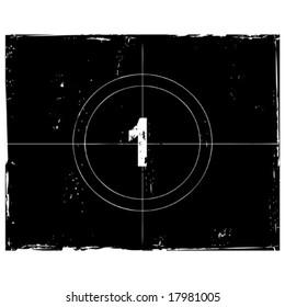 Retro film countdown vector illustration. Number 1 (see similar vectors in my profile)