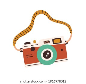 Retro film photo camera with strap isolated on white background. Old analog photocamera. Hand-drawn colored flat vector illustration