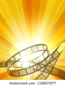 Retro filmstrip background. Vintage movie yellow vector background with film strip, video projection backdrop