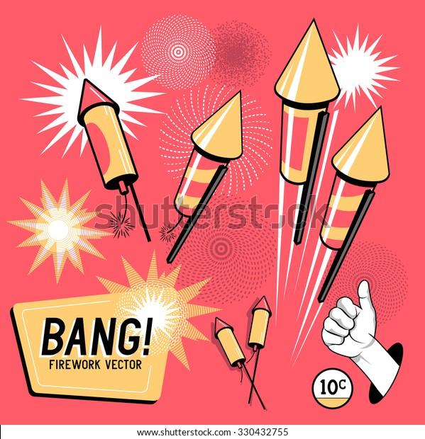 Retro Firework Rockets. Vector illustration.