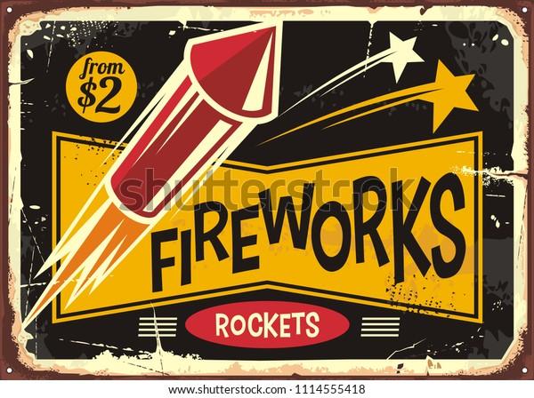 Retro fireworks sign with red rocket on old metal background. Vintage poster or flyer design for fire works rockets retailer.