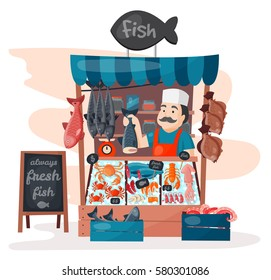 Retro fish street shop store market with freshness seafood in fridge traditional asian meal and man dealer business person meat seller vector illustration.