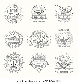 Retro fishing logo or labels set. Fisher and fisherman, badge and stamp, vector illustration