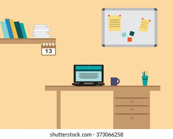 Retro flat design office with table and laptop and many business supplies