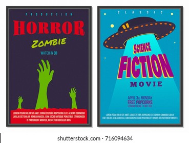 Retro Flat style Movie Cinema Poster Design with Bright Elements Alien Spaceship Zombie and Background great for Web Advertisement Template