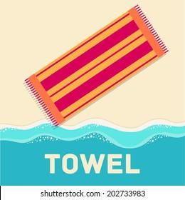 retro flat towel concept. vector illustration design