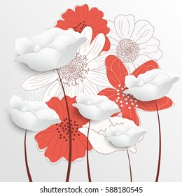 Retro floral background. Decorative flowers. Vector illustration