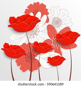 Retro floral background. Decorative flowers. Romantic greeting card. Hand drawn flower outlines. Paper flowers. Vector illustration