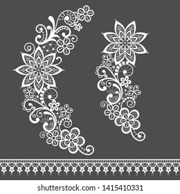 Retro floral lace half wreath  single vector pattern set - ornamental lace design collection, retro openwork background. Vintage detailed backgrounds - wedding or Valentine's Day lace decorations