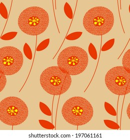 Retro floral seamless pattern. Mid-century modern