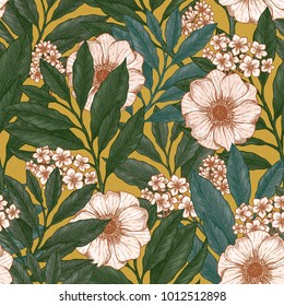 Retro floral seamless pattern. Wild garden background. Vintage fabric design. Vector illustration