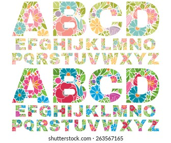 Retro Flower Alphabet Uppercase