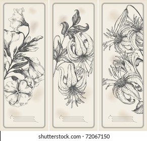Retro flower  banners - drawings