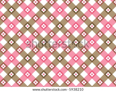 Retro Flower Pink Brown Plaid Vector Stock Vector Royalty Free